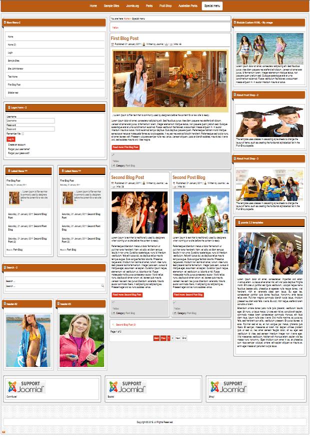 Внешний вид сайтов на joomla! определяется установленным шаблоном