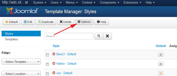 Options Joomla 3.x templates manager
