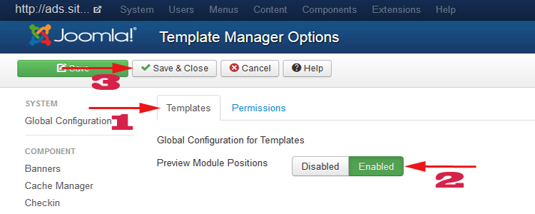 install user template for Joomla 3.x