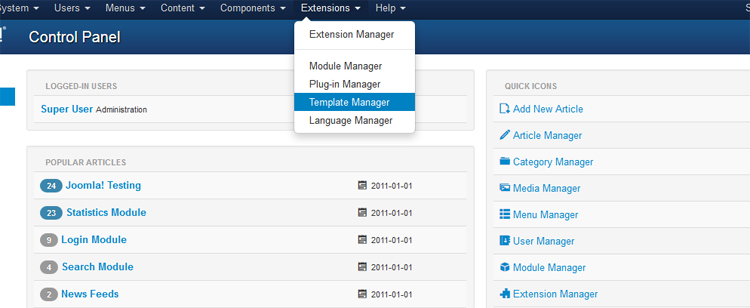 Joomla 3.0 Template Manager