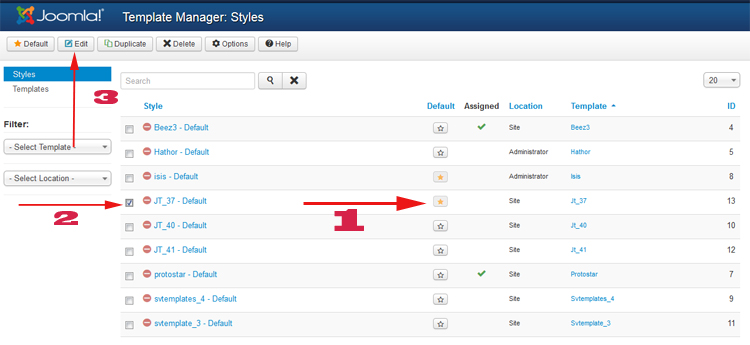 Select default template for Joomla 3.x