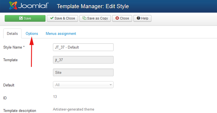 Joomla template options