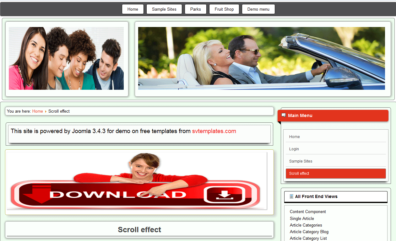 Free joomla 3 template - nice scrolling effect for articles and images