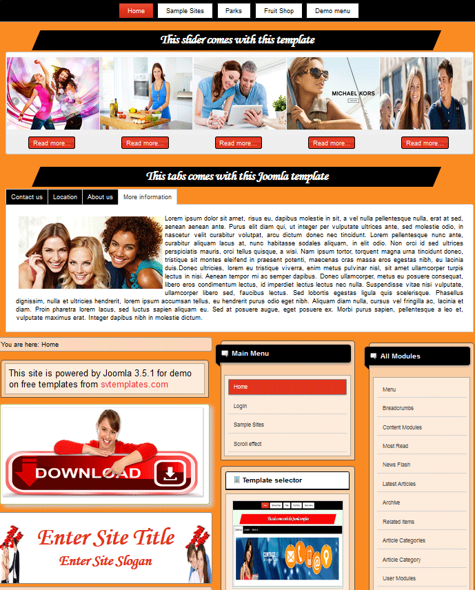 Template Joomla 3.0 for free download with full responsive images slider