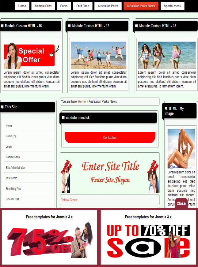 Joomla 3.6 template for free download with sticky bottom content panel