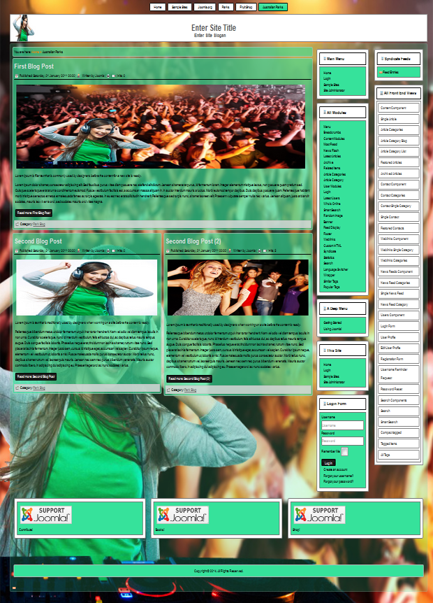 joomla 3.x and 2.5 templates for techno music, DJ, rock festivals