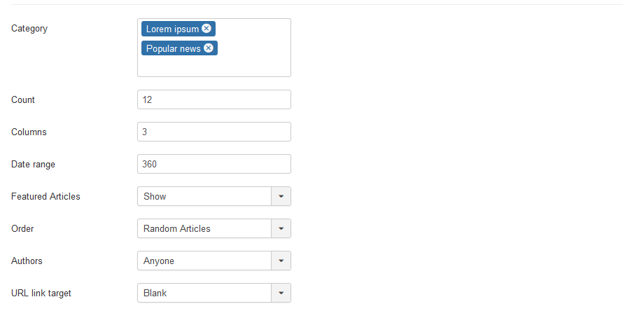 Joomla module main settings
