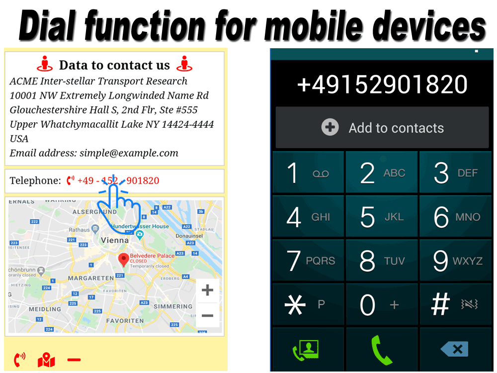 Joomla module with mobile dialing feature