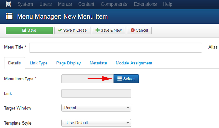 Select a menu item which points to an Joomla 3.x Article
