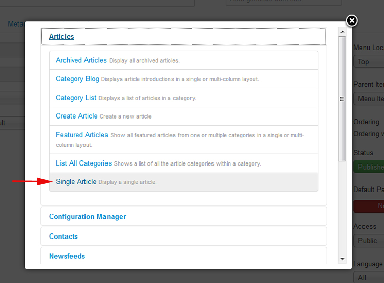 Adding a menu item which points to an Joomla 3.x Single Article