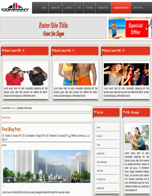 joomla 3.5.x template with animated effect of the articles and smooth scrolling