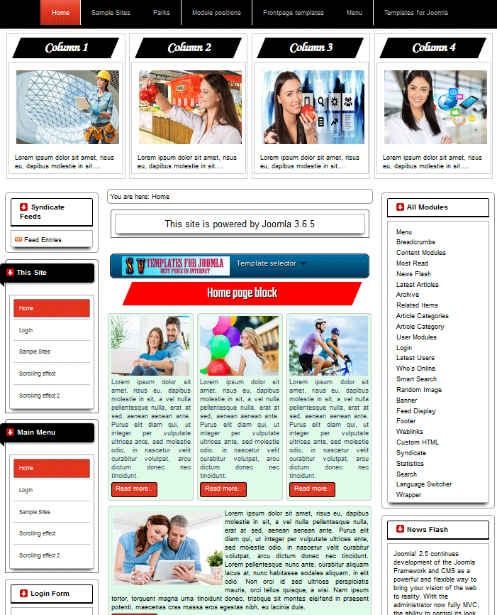 Template for Joomla #168 with responsive home page block