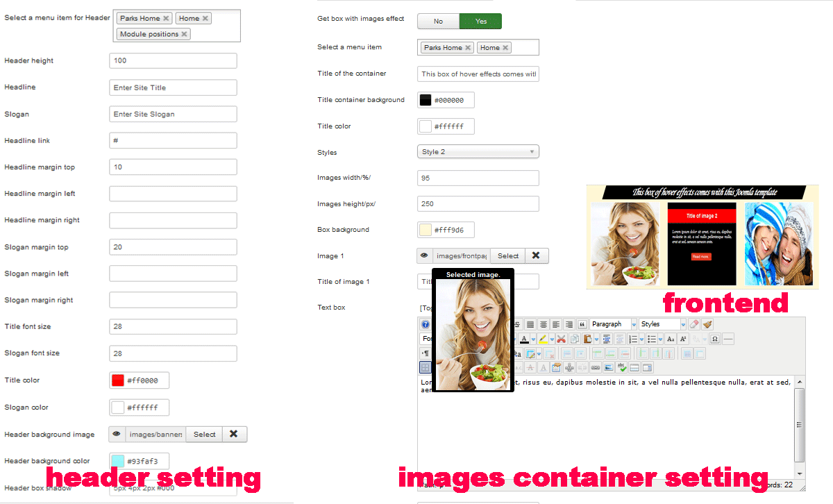 Joomla 3.x template container images animated hover effects and header settings