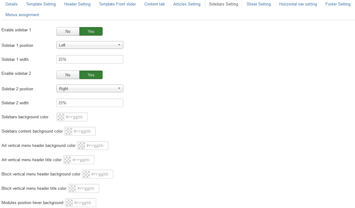 Joomla 3 template sidebars settings