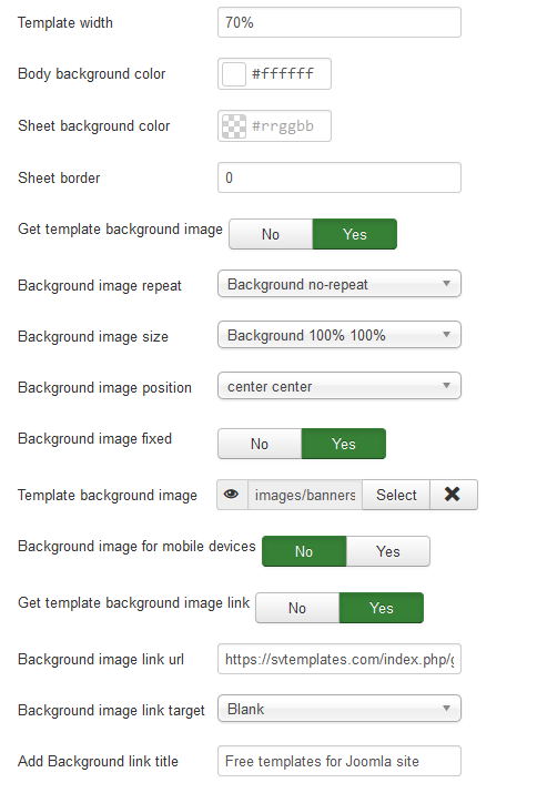 Joomla 3 template settings